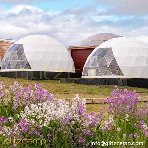 deluxe-geodome-kit-connected-to-a-log-cabin