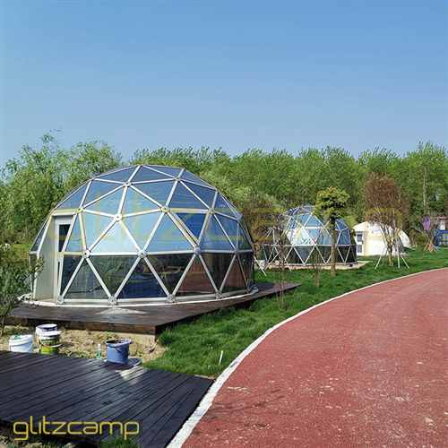 6m Transparent Glass Geodesic Dome in Leisure Park