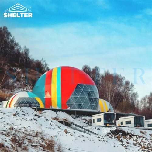 Customized Connectable Event Domes in The Ski Resort